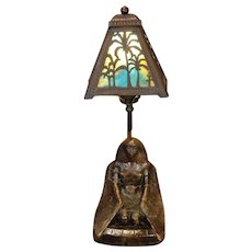 Signed Egyptian Revival Coppered Isis Lamp w/ Palm Tree Slag Glass Shade