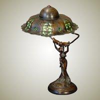 Fabulous Art Nouveau Figural Lamp w/ Slag Glass Jeweled Shade