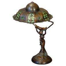 Fabulous Art Nouveau Figural Lamp w/ Slag Glass Jeweled Shade