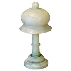 European Green Alabaster Carved Accent Lamp