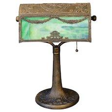 Large Stately Two Panel  Slag Glass Harp Desk Lamp