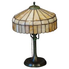 Small Bradley & Hubbard Leaded Slag Glass Lamp