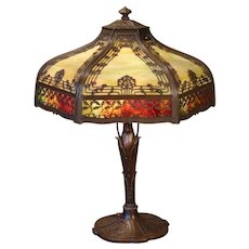 Stunningly Beautiful Miller Art Nouveau Leaf & Berry Double Panel Slag Glass Lamp