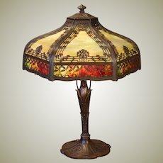 Stunningly Beautiful Miller Art Nouveau Leaf & Berry Double Panel Slag Glass Lamp