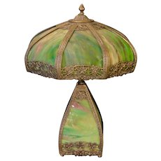 Unusual Matching Ivy Slag Glass Lighted Base Lamp