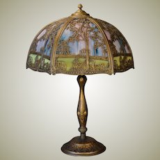 Very Large Empire Double Panel Scenic Slag Glass Lamp