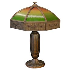 Very Large Bradley & Hubbard Arts & Crafts Graduated Reverse Painted Ribbed Glass Lamp