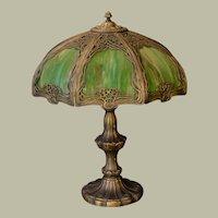 Large Elegant Art Nouveau Slag Glass Panel Lamp