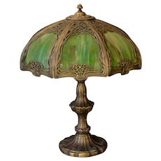 Large Elegant Art Nouveau Slag Glass Panel Lamp