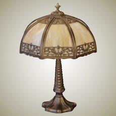 Handsome Torch & Wreath Mid Size Slag Glass Panel Lamp