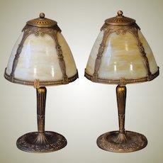 Pair Large Miller Slag Glass Boudoir Lamps