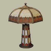 Large Gothic Obverse Painted Slag Glass Lighted Base Lamp