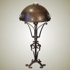 Jugendstil Hammered Wrought Iron & Copper Jeweled Lamp