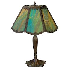 Very Large 8 Panel Slag Glass Lamp