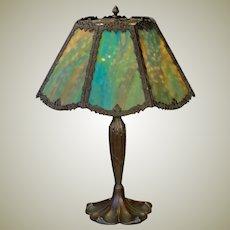 Very Large 8 Panel Slag Glass Lamp