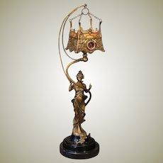 Fabulous Art Nouveau Figural w/ Hanging Jeweled Shade
