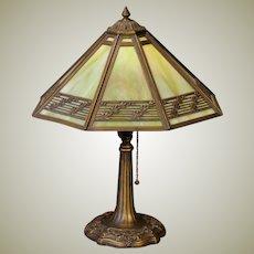 Handsome Bradley & Hubbard Arts & Crafts Slag Glass Lamp