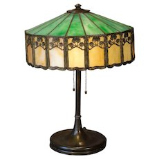 Art Nouveau Leaded Slag Glass Lamp