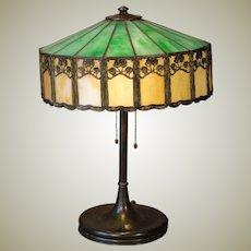 Art Nouveau Leaded Slag Glass Lamp