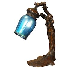 Gorgeous Art Nouveau Figural w/ Adjustable Iridescent Blue Art Shade