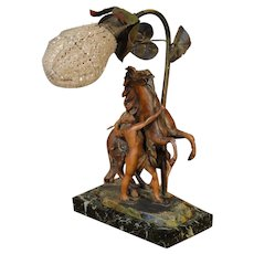 Marley Horse and Trainer Figural Lamp w/ Czechoslovakian Crystal Shade