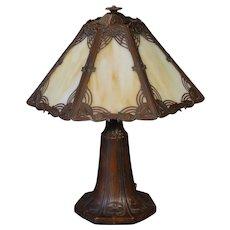 Gorgeous Art Nouveau/ Art Deco Morning Glory Slag Glass Lamp