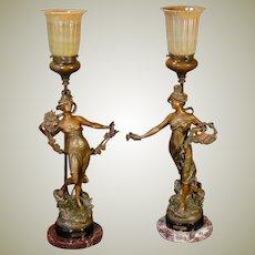 Gorgeous Pair of French Art Nouveau Figural Mantle Lamps