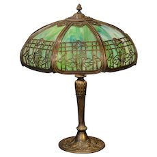 Large Ornate Miller Slag Glass Lamp w/ Trellis Mushroom Shade