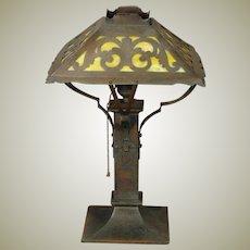Bradley & Hubbard Brass Hand Wrought & Assembled Slag Glass Lamp