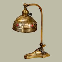 Fabulous Jugendstil Art Nouveau Brass Jeweled Desk Lamp