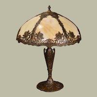 Large Chrysanthemum Slag Glass Lamp w/ Beautifully Ornate Base