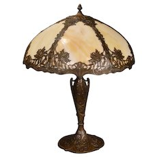 Large Chrysanthemum Slag Glass Lamp w/ Beautifully Ornate Base
