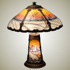 Reverse Painted Bump Glass Lighted Base Winter Scenic Lamp