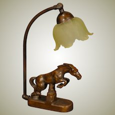 Signed NuArt Leaping Horse Adjustable Art Deco Lamp