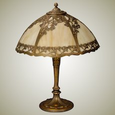 Large Beautiful Art Nouveau Ginkgo Leaf  Slag Glass Lamp