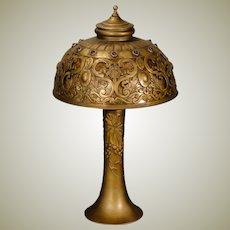 Stunning European Brass Jeweled Lamp w/ Mica Lining
