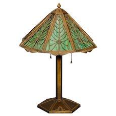 Lovely Bradley & Hubbard Arrowroot Slag Glass Lamp