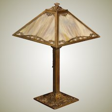 Mid-Size Slag Glass Lamp w/ Heavily Textured Glass
