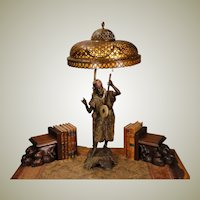 Huge Austrian Cold Painted Musician Figural Lamp w/ Mica Lined Cut Brass Shade