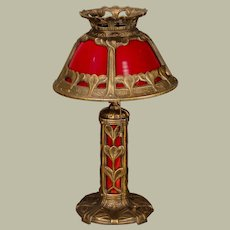 Unusual Iron Red Glass Lighted Base Lamp