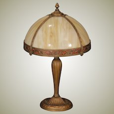 Classy Signed Obverse Painted Slag Glass Panel Lamp