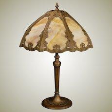 Large Miller Slag Glass Panel Lamp