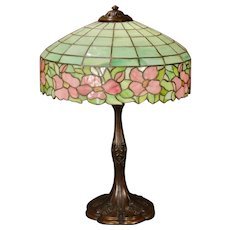 Very Large Floral Slag Glass Leaded Lamp