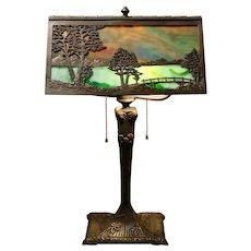Large Rare Bradley & Hubbard Tree Scenic Desk Lamp