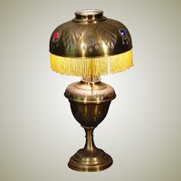 Belgium Art Nouveau Embossed Brass Jeweled Lamp