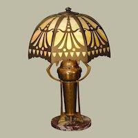 Jugendstil Art Nouveau Brass Lamp w/ Slag Glass Shade