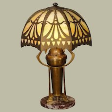 Jugendstil Art Nouveau Brass Lamp w/ Slag Glass Shade