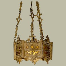 Ornate Gothic Mica Lined Hanging Lamp
