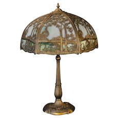 Large Miller Scenic Double Panel Slag Glass Lamp