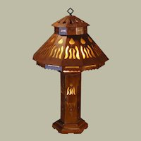 Large Restored Arts & Crafts Wooden Mica Lined Lighted Base Lamp